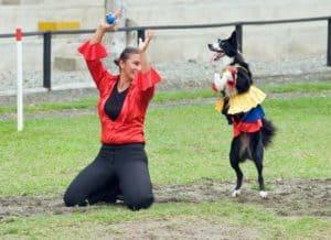 Hund und Frau beim Dogdance