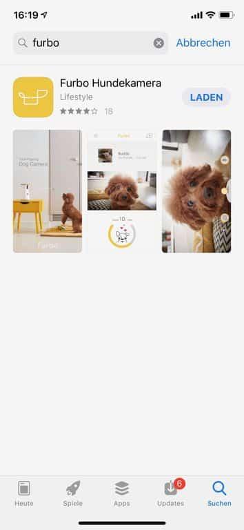 Die Furbo App im AppStore