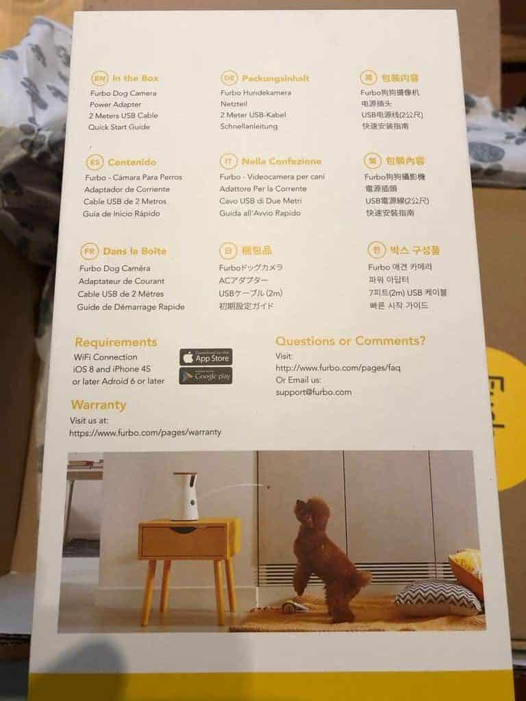 Rückseitige Beschreibung der Furbo Hundekamera