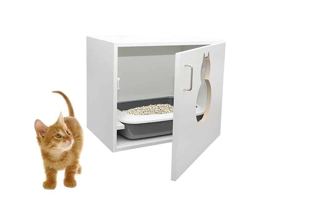 Katzenklo Schrank in weiß mit großer Öffnung