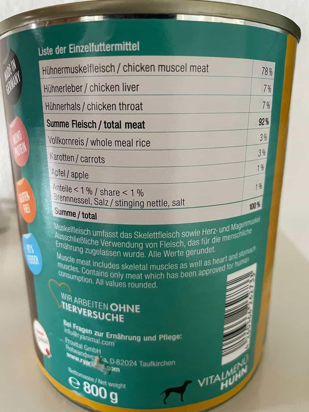 Rydog Vitalmenü Huhn Liste der Einzelfuttermittel