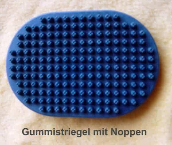 Blauer Gummistriegel mit Noppen