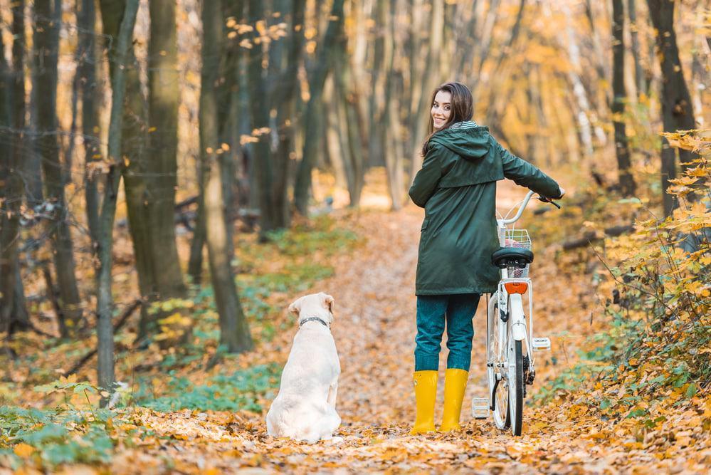 Fahrrad fahren im Wald mit Hund